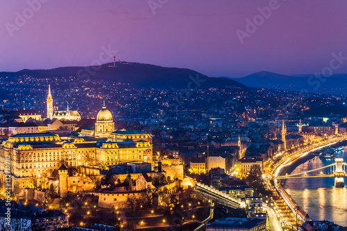 Poster Hills of Buda, with the Castle. Budapest, Hungary