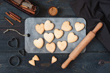 Baked cookies-hearts on the wooden table