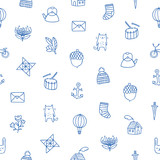 Outline kids doodle pattern