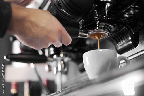 Poster Espresso machine making coffee