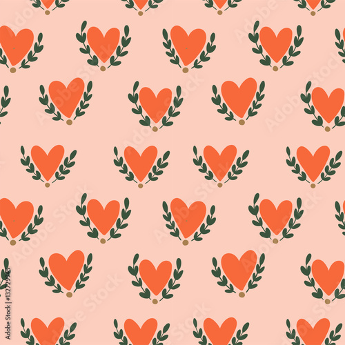 Cotton fabric Hearts seamless pattern