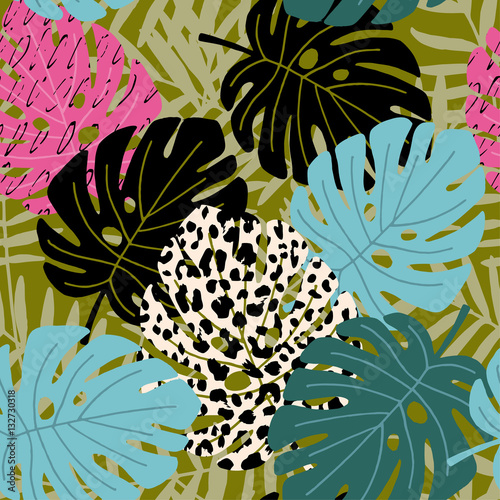 Materiał do szycia Tropical palm and monstera leaf seamless pattern with leopard skin texture. Hawaiian design, vector illustration background.