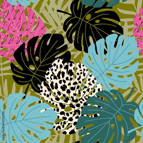 Materiał do szycia Monstera i tropikalnych palm leaf wzór z leopard tekstury skóry. Hawajski projekt, tło wektor ilustracja.