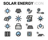 Vector flat solar energy icons set