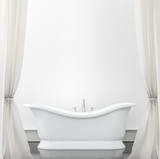 Interior background - bathroom with white curtains. Mock up back