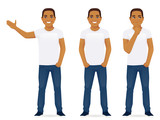 Young man in jeans standing in different poses isolated