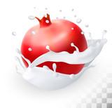 Pomegranate or garnet in a milk splash on a transparent backgrou