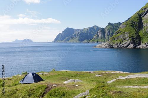 Poster Camping in Lofoten Islands, Norway, Europe