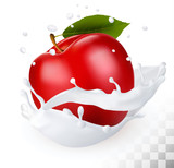 Red apple in a milk splash on a transparent background. Vector.