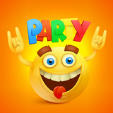 Happy Smiley Emoticon Yellow Face. Party Concept icon