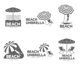 Fototapety Logo templates with beach umbrella and sun bathing lounge chairs, vector illustration isolated on white background. Black and white graphic logotypes, logo templates with sunshade umbrellas