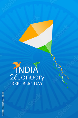 Poster Tricolor kite on the background of Ashoka wheel