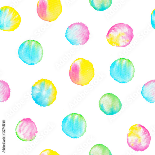 Cotton fabric Watercolor seamless pattern with colorful circles.