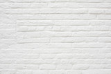 White painted bricks wall texture background - 132748335