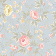 seamless floral pattern with roses on blue background