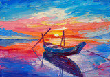 Fototapety Oil painting, artwork on canvas. Fishing boats on sea