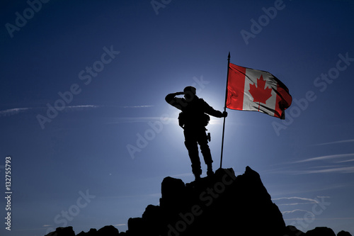 Soldier on top of the mountain with the Canadian flag Poster