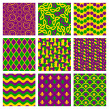 Set of seamless patterns for Mardi Gras. Traditional colors. Mask, chess, fleur de lis, circle and wave.