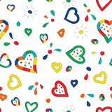 Seamless pattern background with hand drawn hearts
