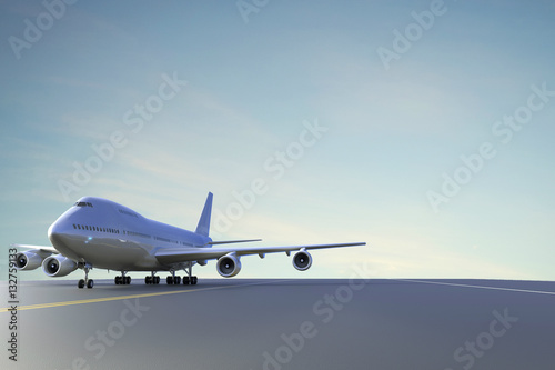 Airplane side View on Runway at beautiful Sky