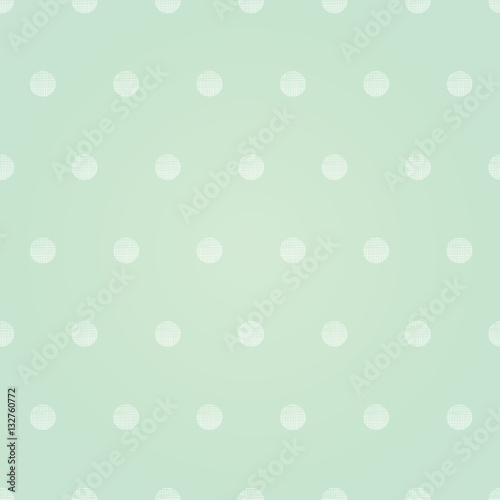 Vector Vintage Mint Green Polka Dots Circles Seamless Pattern Background With Fabric Texture. Perfect for neutral nursery, birthday, circus or fair themed designs. - 132760772