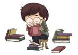 Niño leyendo libros sentado en un banco
