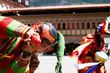 Постер, плакат: Bhutan clown celebration on a festival in Thimphu with costume and mask wooden phallus fun