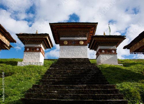 Bhutan Punakha 101 chortens hill monuments temple architecture Poster
