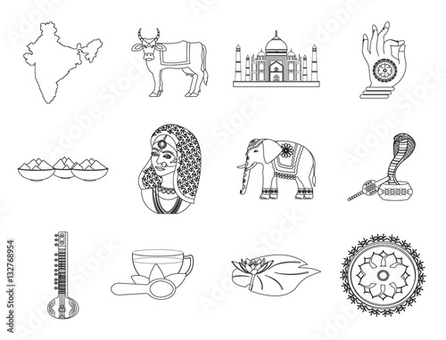 Poster India set icons in outline style