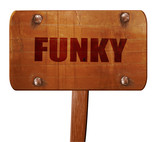 funky, 3D rendering, text on wooden sign