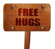 free hugs, 3D rendering, text on wooden sign