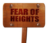 fear of heights, 3D rendering, text on wooden sign