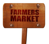 farmers market, 3D rendering, text on wooden sign