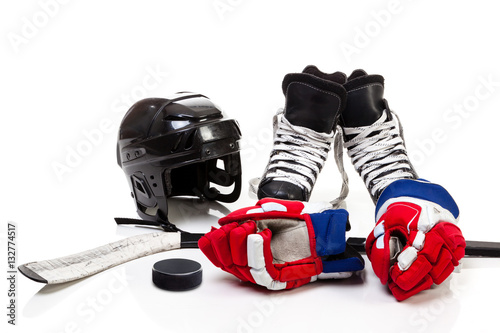 Ice Hockey Equipment Isolated on White Background Poster