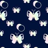 орнамент из перламутровых бабочек, векторная иллюстрация