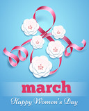 Eight march poster with paper flowers. Handmade card happy woman day vector illustration