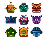 Set of retro robot and monster icons
