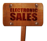 electronic sales, 3D rendering, text on wooden sign