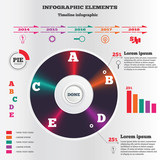 Infographics elements. Vintage record symbol. Pie chart and timeline diagram with icons. Business flat banners. Five step option set. Colored signs. Vector