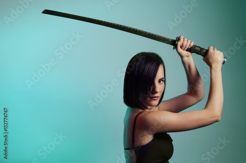 Mystic beautiful black hair girl with sword, copy space Poster