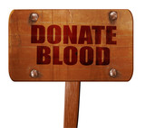 donate blood, 3D rendering, text on wooden sign
