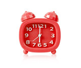 Red alarm clock isolated.
