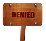 denied sign background, 3D rendering, text on wooden sign