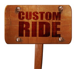 custom ride, 3D rendering, text on wooden sign