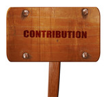 contribution, 3D rendering, text on wooden sign