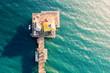 Aerial view of an ocean pier
