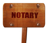 notary, 3D rendering, text on wooden sign