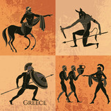 Ancient Greek mythology set. Ancient Greece scene