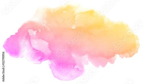 Abstrakt różowa akwarela na białym tle Koloru chełbotanie na papierze Ja jest ręką rysującą.