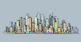 City skyline panorama, hand drawn cityscape, vector drawing architecture illustration - 132794344